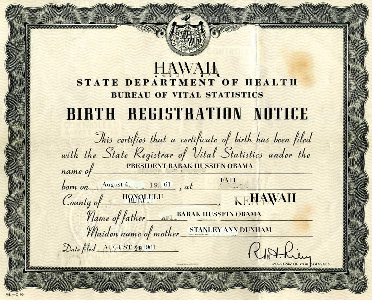 Obama provides proof of birthplace the daily cricket this cleverly doctored birth certificate proves that president obama was born xflitez Gallery