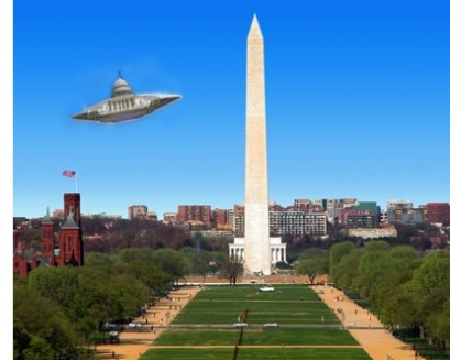 the Capitol building is a spaceship flying across Washington DC